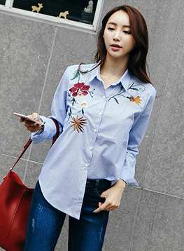 サルエル花の刺繍のシャツC092219