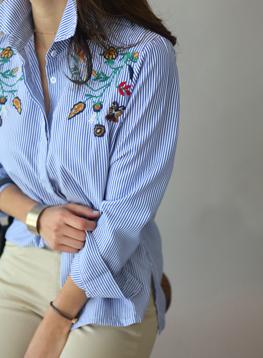 フィールド花の刺繍のシャツC022487