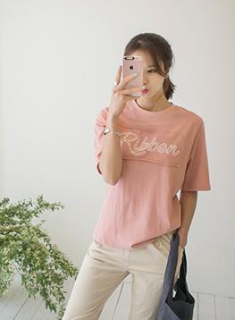 リボンコットン半袖TシャツC040523