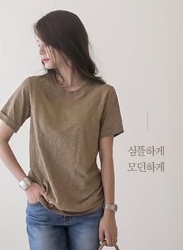 小売ロールアップ半袖TシャツC072774