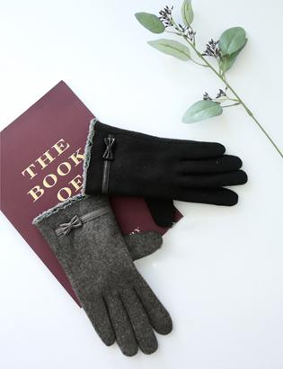 リボンスマートウールの手袋C122850