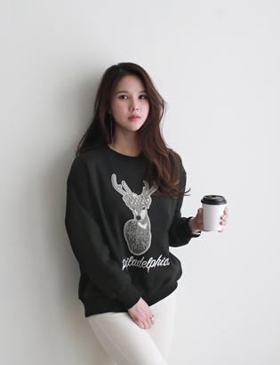 鹿パール起毛マンツーマンC010856