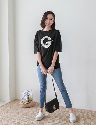 Gパッチ刺繍TシャツC050210