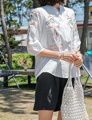 モッズ刺繍ブラウスC062108